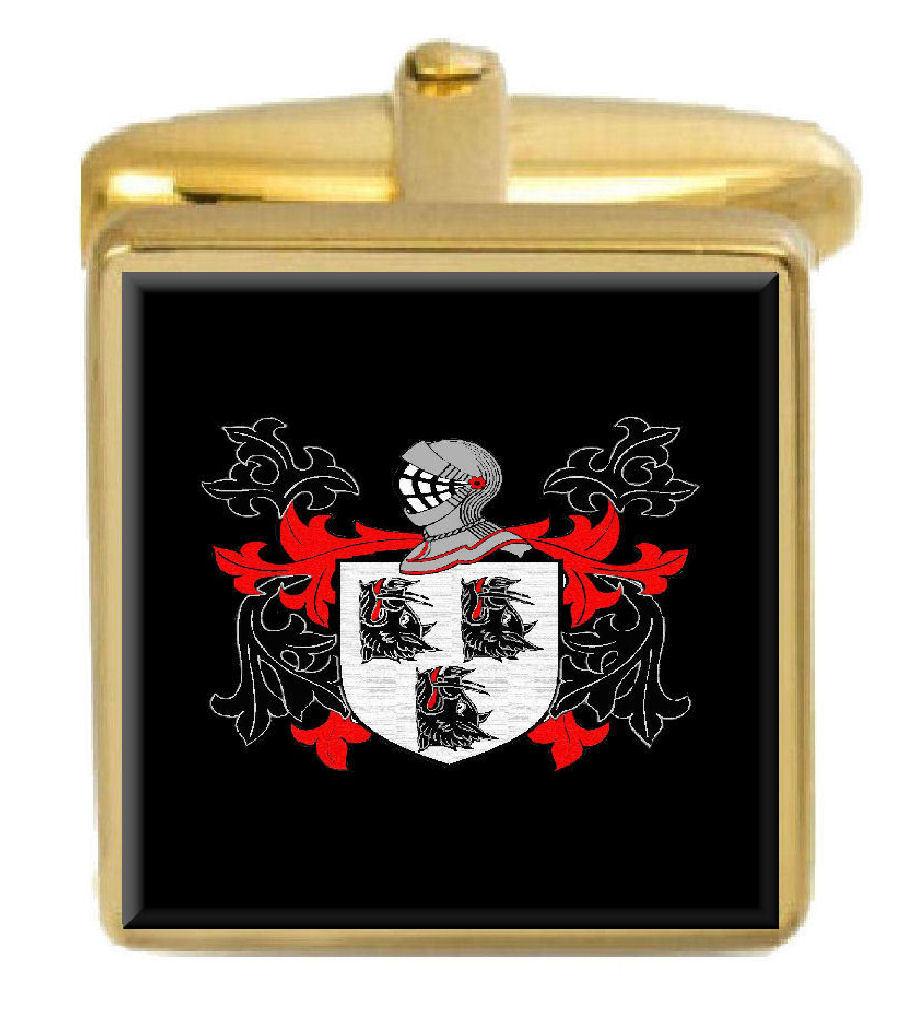 【送料無料】メンズアクセサリ― ブーススコットランドカフスボタンボックスコートbooth scotland family crest surname coat of arms gold cufflinks engraved box