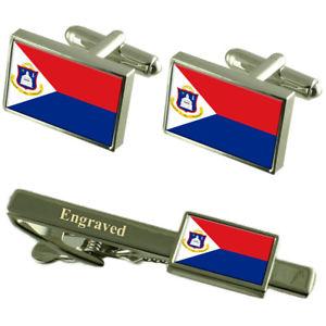 【送料無料】メンズアクセサリ― シントマールテンカフスボタンタイクリップマッチングボックスsint maarten flag cufflinks engraved tie clip matching box set