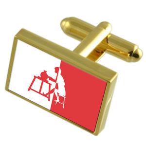 【送料無料】メンズアクセサリ― イングランドゴールドフラッグカフスボタンボックスhorningsea city england gold flag cufflinks engraved box