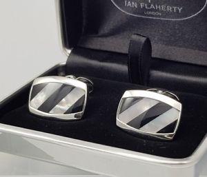 【送料無料】メンズアクセサリ― パールカフスリンクイアンフラハティーシマメノウカフスリンクian flaherty onyx and mother of pearl cufflinks, wedding cufflinks for groomsman