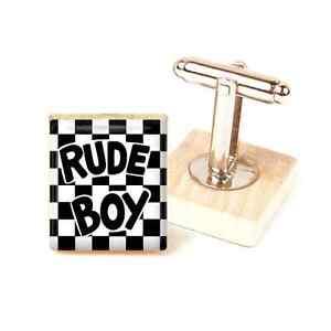 【送料無料】メンズアクセサリ― カフスボタンカフリンクストーンカフスボタンメンズska cufflinks ~ rude boy cufflinks two tone mod handmade ska cufflinks mens gift