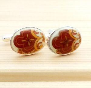 【送料無料】メンズアクセサリ― ビンテージブラウンヒッピーデザインガラスメッキカフスボタン#vintage 1960s brown hippy design glass oval silver plated cufflinks 2