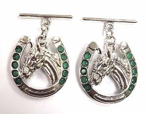 【送料無料】メンズアクセサリ― エメラルドカフスボタンソリッドシルバーメンズnovelty detailed horse horseshoe emerald cufflinks 925 solid silver mens gift