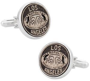 【送料無料】メンズアクセサリ― ロサンゼルストランジットトークンカフリンクススターリングシルバートークンアイコンlos angeles transit token cufflinks clad in sterling silver tokens amp; icons nib