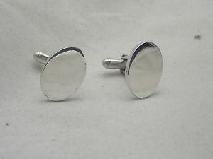 【送料無料】メンズアクセサリ― オーバルシルバーカフリンクスplain heavy weight oval silver cufflinks