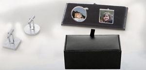 【送料無料】メンズアクセサリ― パーソナライズテキストボックスカフリンクスpersonalised photo text wedding anniversary cufflinks with gift box