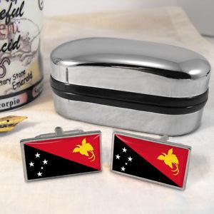 【送料無料】メンズアクセサリ― パプアニューギニアカフスボタンボックスpapua guinea flag cufflinks amp; box