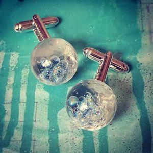 【送料無料】メンズアクセサリ― ユニークカフスボタンウェディングメンズカフスunique rainbow bubbles cufflinks resin iridescent handmade wedding mens cuffs