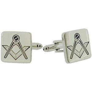 【送料無料】メンズアクセサリ― プレゼンテーションボックスカフリンクスjakob strauss silvertone square masonic cufflinks in presentation box