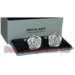 【送料無料】メンズアクセサリ― シマメノウカフスリンク マットflower swirl cufflinks by onyx art gift boxed  matt gardener garden ladies