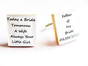 【送料無料】メンズアクセサリ― パーソナライズカフスボタンpersonalised wedding cufflinks father of the bride dad gift boxed handmade in uk