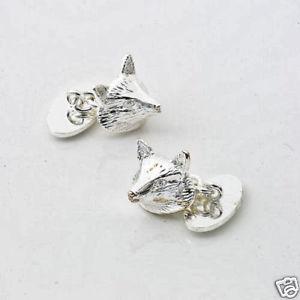 【送料無料】メンズアクセサリ― フォックスノベルティカフスボタンチェーンリンクfox silver plated novelty cufflinks with chain link fastening 10792