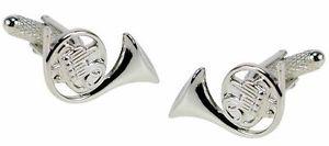 【送料無料】メンズアクセサリ― フレンチホルンカフスボタンボックスfrench horn cufflinks silver finish ingift box  22660
