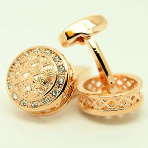 【送料無料】メンズアクセサリ― ローズゴールドカフリンクスrose gold with stones wedding cufflinks