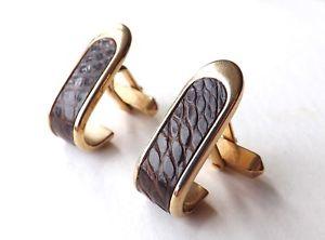 【送料無料】メンズアクセサリ― ビンテージカフスボタンゴールドトーンカーブフレームvintage swank cufflinks gold tone curved frame with real leather free pamp;p