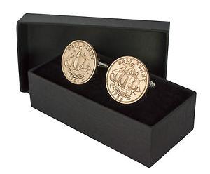 【送料無料】メンズアクセサリ― コインカフスボタンハーフペニーcoin cufflinks half penny choose the year 19231967 perfect birthday present