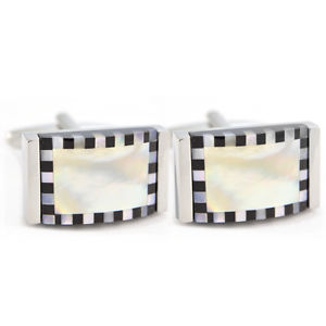 【送料無料】メンズアクセサリ― ボックスボーダーチェッカーフラッグエッジカフリンクスmother of pearl with chequered edge cufflinks in gift box mop border aj371