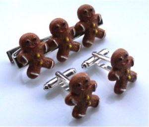 【送料無料】メンズアクセサリ― ジンジャーブレッドカフスボタンタイピンバッグセットvery cute handmade gingerbread man cufflinks tie pin set free gift bag