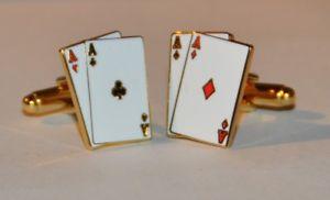 【送料無料】メンズアクセサリ― ポーカーカジノブラックジャックギャンブルカフスボタンゴールドメッキ