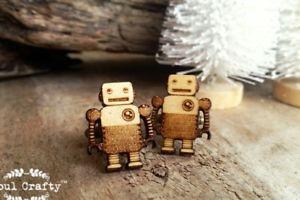 【送料無料】メンズアクセサリ― ブリキロボットカフリンクスレトロtin robot wooden cufflinks retro toys children toys dad grooms bestman groomsman