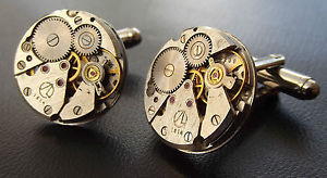 【送料無料】メンズアクセサリ― round watch movement steampunk cuff linksヴィンテージカフスリンクround watch movement steampunk cuff links mens vintage silver wedding