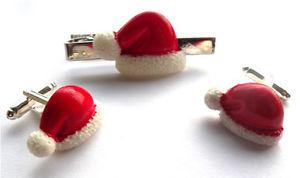 【送料無料】メンズアクセサリ― beautiful handmade santa hat cufflinkstie pinsetfree gift bagbeautiful handmade santa hat cufflinks tie pin set free gif