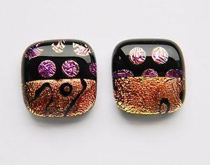 【送料無料】メンズアクセサリ― ダイクロイックガラスカフスボタンパターン#genuine dichroic glass hand crafted cufflinks pattern 6
