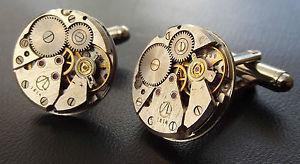 【送料無料】メンズアクセサリ― round watch movement steampunk mens wedding vintagecufflink cuff linksround watch movement steampunk mens wedding vintage