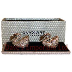 【送料無料】メンズアクセサリ― シマメノウカフスリンク カフスリンクswan cufflinks by onyx art gift boxed ladies swans bird cuff links