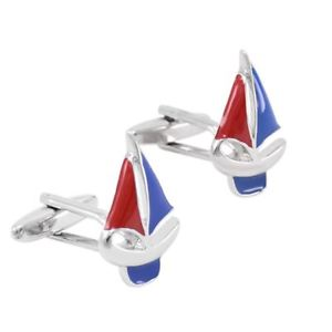【送料無料】メンズアクセサリ― カフスリンクヨットスポーツsailing boat yacht fishing cufflinks novelty blue red fun birthday sport gift uk