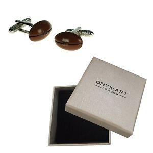 【送料無料】メンズアクセサリ― ラグビーボールオニキスアートカフスボタンボックスプレーヤーブラウンrugby ball cufflinks by onyx art gift boxed player brown