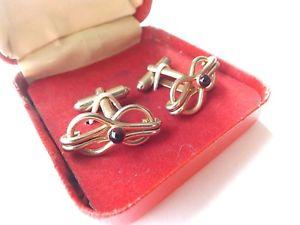 【送料無料】メンズアクセサリ― グラスヴィンテージ19601970カフスリンクvintage 1960s 1970s cufflinks in box gold tone bow design with red glass inset