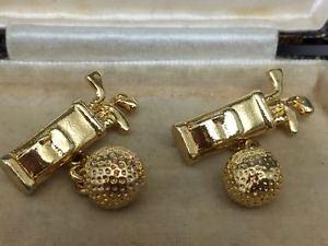 【送料無料】メンズアクセサリ― ゴルフバッグボールカフスボタンボックスlovely gold plated golf bag amp; ball cufflinks  box included