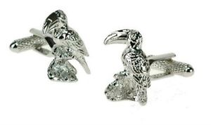 【送料無料】メンズアクセサリ― ボックスオンシルバーカフスボタンオオハシカフリンクスtoucan cuff links in a silver finish cufflinks in box