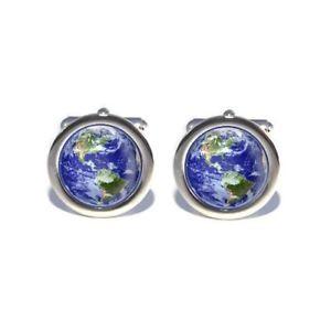 【送料無料】メンズアクセサリ― カフスボタンplanet earth world globe from space science cufflinks