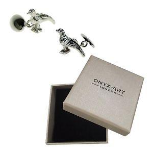 【送料無料】メンズアクセサリ― シルバープレートキジオニキスアートカフスボタンボックスチェーンリンクゲームsilver plate pheasant cufflinks by onyx art gift boxed chain link game
