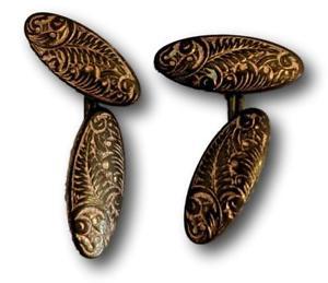【送料無料】メンズアクセサリ― ビンテージゴールドトーンカフスボタンvintage oval gold tone cufflinks with engraved detail hallmark