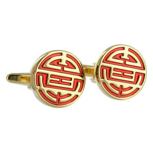 【送料無料】メンズアクセサリ― シンボルカフスボタンボックスブランドchinese longevity symbol redgold cufflinks prosperity aj456 brand in box