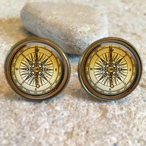 【送料無料】メンズアクセサリ― ビンテージコンパスカフリンクスvintage compass 20mm cufflinks