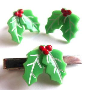 【送料無料】メンズアクセサリ― ハンドメイドヤドリギカフスボタンタイピンセットlimited quantity  handmade mistletoe cufflinks tie pin set free gift bag