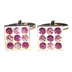 【送料無料】メンズアクセサリ― ピンクスクエアカフスボタン×pink crystals square cufflinks x2psf191