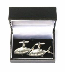 【送料無料】メンズアクセサリ― ボックスカフリンクスピューターpermit fish cufflinks pewter made in uk gift boxed or pouched quantity discount