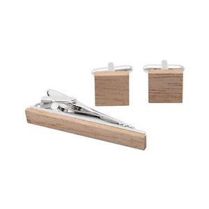 【送料無料】メンズアクセサリ― カフスボタンセットスクエアシルバーカフスボタンタイクリップtie clip with cufflinks set gentleman wood square silver tone brass cuff links