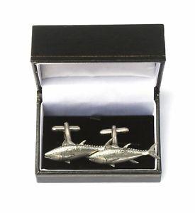 【送料無料】メンズアクセサリ― マグロボックスカフスボタンピューターtuna fish cufflinks pewter made in uk gift boxed or pouched quantity discount