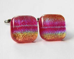 【送料無料】メンズアクセサリ― ダイクロイックガラスカフスボタンスペクトルgenuine dichroic glass hand crafted cufflinks red rainbow spectrum