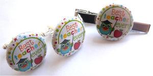 【送料無料】メンズアクセサリ― ユニークカフリンクスタイピンバッグunique and rare best teacher ever present cufflinks amp; tie pin free gift bag