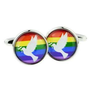 【送料無料】メンズアクセサリ― ボックス×デザインカフリンクスダブrainbow dove of peace design cufflinks in a cufflink box x2boc352