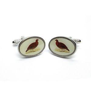 【送料無料】メンズアクセサリ― カフスリンクボックスライチョウカフスリンクgrouse oval cufflinks  in cufflink gift box