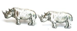 【送料無料】メンズアクセサリ― サイカフリンクスピューターイギリスハンドメイドボックスrhino cufflinks pewter uk hand made gift boxed or pouched quantity discount