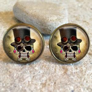【送料無料】メンズアクセサリ― ピンクシュガースカルカフスボタンカフリンクスpink sugar skull 20mm cufflinks cuff links